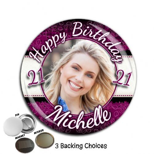 Large 75mm Personalised Purple & Black Happy Birthday PHOTO Badge N49 (Pin / Magnet / Mirror Backing)